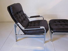 Chromed Lounge Chair with Ottoman Knoll Styled